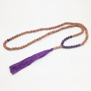 ST0241 2016 Neue Amethyst 108 Mala Perlen Quaste Halskette Spirituelle Rudraksha Halskette Feine Halsketten Schmuck