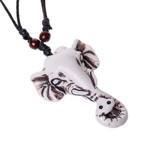 الأزياء والمجوهرات الفيل قلادة رجالية شخصية الشمع حبل مطرز الراتنج الترقوة قلادة عارضة خمر فاسق قلادة N0009