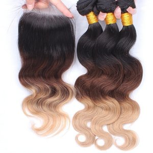 #1b #4 #27 Three Tone Honey Bloned Lace Closure 4x4 Free Part With 9A Malaysian Body Wave Ombre Human Hair 4pcs lot