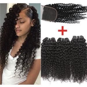 Brésilien Kinky Curly Avec 4x4 dentelle fermeture brésilien cheveux bouclés avec fermeture non transformés brésilienne Vierge humaine Bundles cheveux avec fermeture