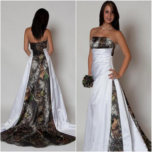 La nouvelle conception Camo robe de mariée 2020 bretelles Plis Une ligne de balayage train satin Country Beach Robes de mariée grande taille pas cher Custom Made