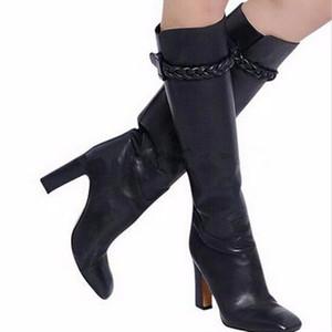 2018 nouveau top qualité boucle sangle glissement sur bottes à talons rouges chaussures en cuir souple femme piste piste genou bottes épais talons hauts bottes femme