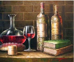 Çerçeveli Şarap Mahzeni Tadımı Şişeleri Cam Kitaplar, Saf El Boyalı Natürmort Sanat Yağlıboya Tuval Üzerine.