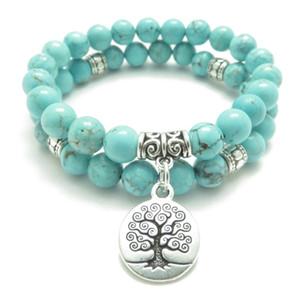 SN0643 Albero della vita Gioielli Yoga Mala Bracciale Turquoise Healing Protection Braccialetto impilabile in rilievo elastico Gioielli spirituali
