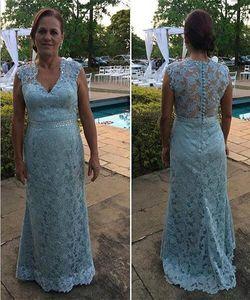 Abiti da sposa madre in madreperla blu con scollo a V e maniche lunghe con scollo a V per la madre