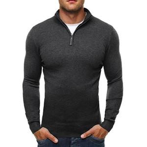 Pullover Pullover Männer 2017 Männliche Mode Lässig Dünne Taktische Pullover Klassischen Reißverschluss Hoher Kragen Einfache Einfarbig Männer Polo Pullover XXXL