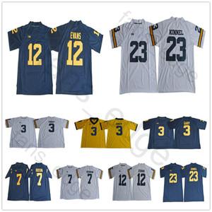 Maglia da uomo NCAA Michigan Wolverines # 3 Rashan Gary 7 Khaleke Hudson 12 Maglia da calcio Chris Evans 23 Tyree Kinnel blu bianco oro