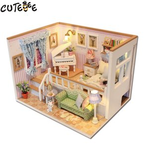 Wholesale- CUTEBEE Doll House Miniature DIY Dollhouse With Furnitures Wooden House Stars Sky Toys For Birthday Gift M026