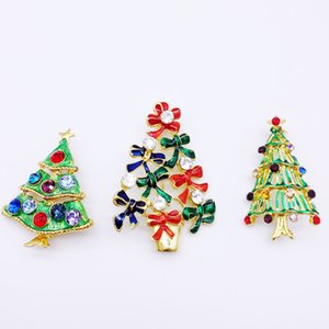 3PCS New Year Series Metal Drops Belt Belt Mixed Christmas Tree Brooch 45-56MM Jewelry Gift Christmas Decoration Brooch