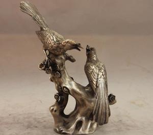 Comercio al por mayor barato China Copper Lucky Bird 2 Magpie Plum blossom Flower Art Statue