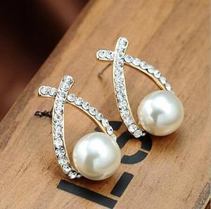 Orecchino all'ingrosso Orecchini in cristallo dorato Orecchini Brincos Perle Pendientes Bou Orecchini di perle