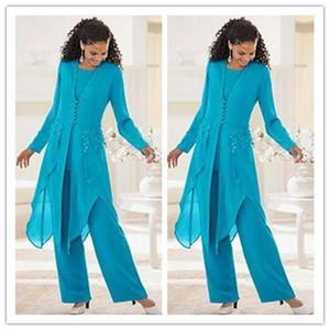 Long Chiffon Mother Off Bride Pant Suits Long Sleeves Jewel Three Pieces Formal Dress For Wedding Guest Evening Custom Made