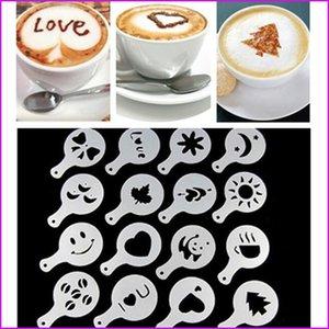 16 Adet / grup Yeni Yaratıcı Plastik Garland Kalıp Fantezi Kahve Baskı Modeli Kalın Kahve Köpük Sprey Şablon