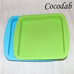 Atacado nova rodada e forma quadrada food grade silicone prato recipiente, silicone prato profundo recipiente para alimentos frutas cera dhl