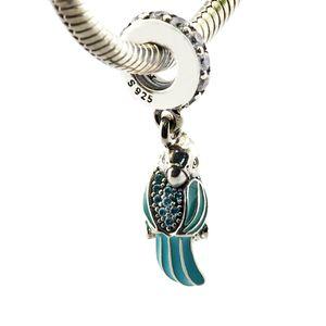 Se adapta a las pulseras Pandora 2016 Joyas de verano Loro tropical Auténticos 925 Colgantes de dijes de plata de ley diy