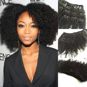 6шт необработанные бразильские девственные волосы кудрявый вьющиеся клип в человеческих волос расширение естественный цвет вьющиеся клип в наращивание волос