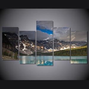 5 Панель HD Printed Темные облака снег Горное озеро Картина Холст печати Room Decor Печать плаката Картина холст настенной живописи