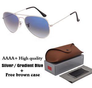 1 pz migliore qualità del progettista di marca uomo donna occhiali da sole pilota occhiali da sole struttura in metallo lenti in vetro sfumato oculos de sol con casi e scatola