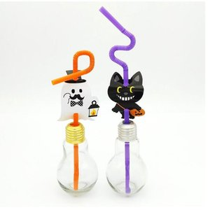 Pajita de plástico desechable de Halloween con banderas para niños Pajitas / tema calabaza / fantasma / murciélago / decoración de fiesta para fiestas 12 piezas