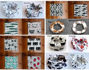 INS Pañuelos para niños Accesorios de moda Algodón de dibujos animados Imprimir bufanda Círculo Baby Loop Bufandas niños Bufandas bufanda de impresión 18 colores elegir