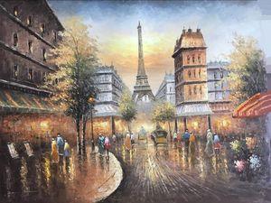 В рамке Бесплатная доставка, Эйфелева башня, вид на Париж-стрит, чистая ручная роспись пейзаж живопись маслом холст, мульти размеры доступны DH