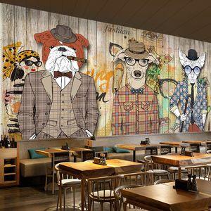 Arte abstracto papel tapiz de madera tablón retro nostalgia animal perro ropa bar telón de fondo papel tapiz mural graffiti