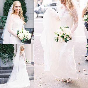 Robes de mariée en dentelle blanche sur l'épaule Manches longues Robes de mariée Retour Zipper balayage Train Custom Made avec broderie Robes de mariée