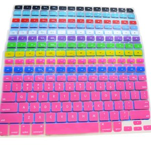 free shipping Wholesale-Colorful Silicone Keyboard Cover Protector Skin for US Apple Macbook Pro MAC 13 15 17 Air 13 Laptop 4WGB