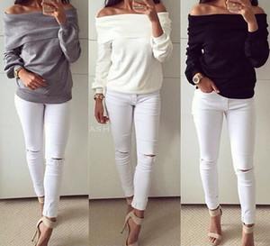 Caldo con cappuccio Moda Autunno Inverno Felpa T-shirt a maniche lunghe T-shirt senza bretelle sexy Collar Sweater DCS-1547