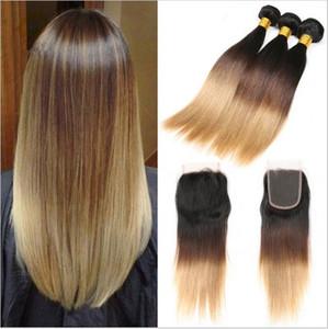 # 1B / 4/27 Honey Blonde Ombre Cheveux Brésiliens 3Bundles Avec Dentelle Fermeture Dark Roots Trois Tons Silky Straight Ombre Cheveux Weaves Avec Fermeture