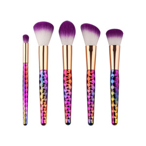5 Unids / set Sirena Maquillaje Pinceles Set Rainbow Beehive Estilo Cosmético Oval Brush Make Up Kit de Herramientas Escalas Colección de Hornos DHL libre
