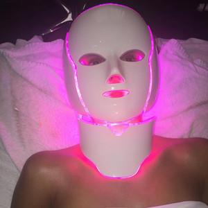 PDT Işık Terapi LED Yüz Maskesi Ile 7 Foton Renkleri Ile Yüz Ve Boyun Ev Kullanımı Için Cilt Gençleştirme LED Yüz Maskesi