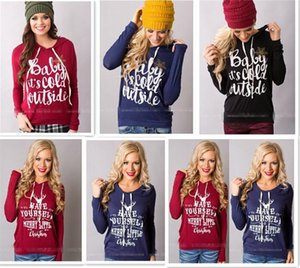 10 stücke 7 designs Weihnachten Jacken Brief Hoodies Frauen Casual Mantel Langarm Sweatshirts Hot Blusen Pullover Outwear Jumper M095
