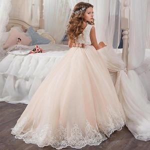 Pequena Rainha Vestido De Renda Branca Vestidos Da Menina de Flor Festa De Casamento Frisada Cintura Vestido das Crianças 2018 Venda Quente 03
