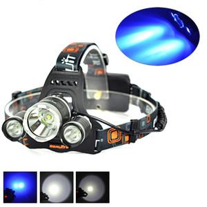 BORUIT 6000LM 3x Cree XML T6 White + 2R5 Blue LED 18650 Headlight Headlamp Head Headlamps Headlamp Headlamp Head Lamp