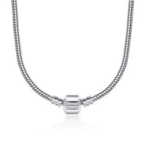 45 cm 4 styles plaqué argent chaîne de serpent collier avec fermoir fit européen perles Pandora collier avec logo bricolage