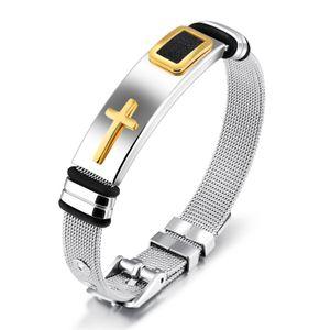 Cristiano religioso para hombre de acero inoxidable Crucifijo cruz brazalete pulsera brazalete para hombres niños deportivo tamaño de la pulsera ajustable
