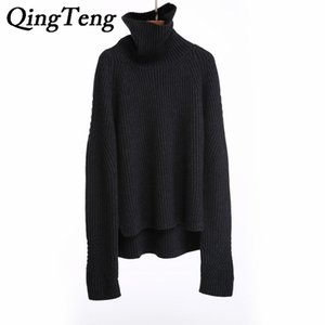 QingTeng Suéteres de mujer Cuello alto de punto suelto Hign Quality Cable de cachemira puro Tejer suéteres y suéteres de mujer Marca