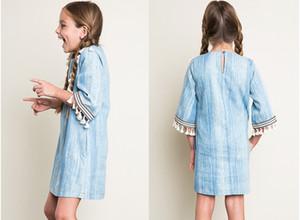 Outono Europa e América moda indian design denim borla vestido crianças vestido de meninas lavado azul grande meninas vestido reto roupas