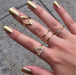 High Quality Punk style Gold & Silver Plated Crystal Geometric Triangle Mid Finger Ring 5pcs/Set Free Shipping