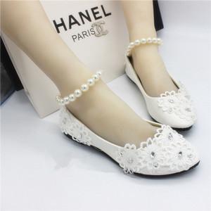 White Flat Shoes Handmade Wedding Bride Wedding Shoes Lace Pearl Bracelet Strap Beaded Bridesmaid Shoes Ivory Bridal Shoes Bridal Shoes