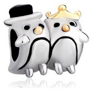 Dos tonos de oro y rodio Chapado en color MR y MRS Pareja Pengiun Bead Charm Fit pulsera europea