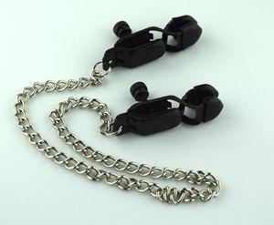 Черные изделия Sexy Clamps Секс-цепь с нержавеющей колодки Гель Nipple JJD1817 Toys Clamp Silica Nipple Steel Взрослый Moxnr