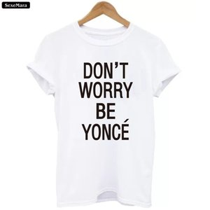 Toptan Satış - SexeMara T-shirt 2017 Yeni Mektuplar Tees Kadınlar Beyaz O-Boyun Harajuku Moda Hip-Hop Beyonce Tişörtleri Kızlar Punk Gevşek H865 Tops