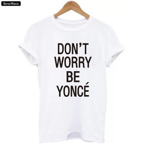 All'ingrosso-SexeMara T-shirt 2017 Nuove lettere Tees Donna Bianco O-Collo Harajuku Moda Hip-Hop Beyonce Magliette Ragazze Punk Cime allentate H865