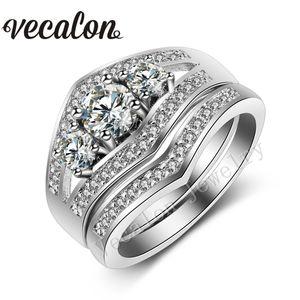 Vecalon 2016 tre-pietra 3ct diamante simulato Cz Wedding Band Ring Set per le donne 10KT oro bianco Filled Fidanzamento Set da sposa