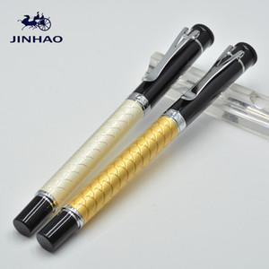 JINHAO luxo branco e amarelo escamas de Peixe embossment roller ball pen com material de escritório da escola de alta qualidade escrita suave marca caneta presente