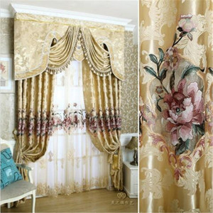 New Curtains For Dining Living Bedroom Room 1pc curtain + 1pc Tulle Custom luxury European water soluble embroidery screens