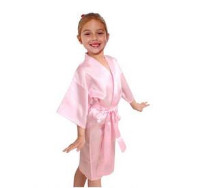 Дети Атласный Район Твердый Кимоно Халат Халат Дети Ночная Рубашка Для Спа-Вечеринки Свадьба День Рождения