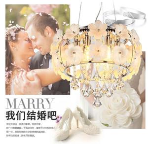 Потолочные цветы. Простые и хрустальные люстры. Потолочные светильники лепестки двойной подвески. Свадьба спальня лампа гостиная лампа легкие закуски